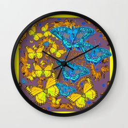 Blue & Yellow Butterflies Puce Pattern Art Wall Clock