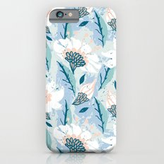 Hand drawn pattern with white flowers Slim Case iPhone 6s