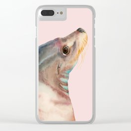 Lazy Glance - Sea Lion Watercolor Painting Clear iPhone Case