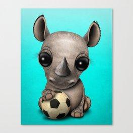 Cute Baby Rhino With Football Soccer Ball Canvas Print