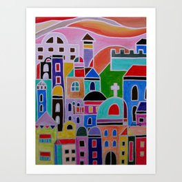 Mexican Guanajuato Colorful Town  Art Print