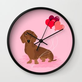 Dachshund dog breed heart balloons valentines day gift for pure breed lovers Wall Clock