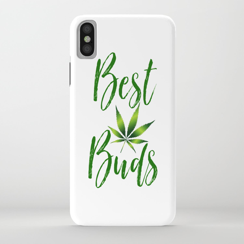 BEST BUDS, GREEN Weed Friends Cannabis Marijuana BFF Typography iPhone Case