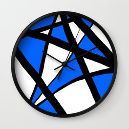 China Blue Geometric Triangle Abstract Wall Clock