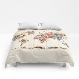 world map watercolor deux Comforters
