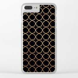 Elegant black faux gold glitter chic quatrefoil vector illustration Clear iPhone Case