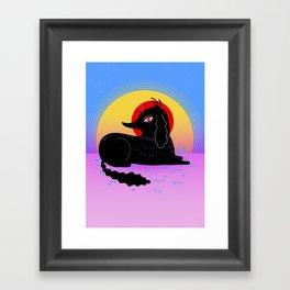 Dog in Sunset Framed Art Print