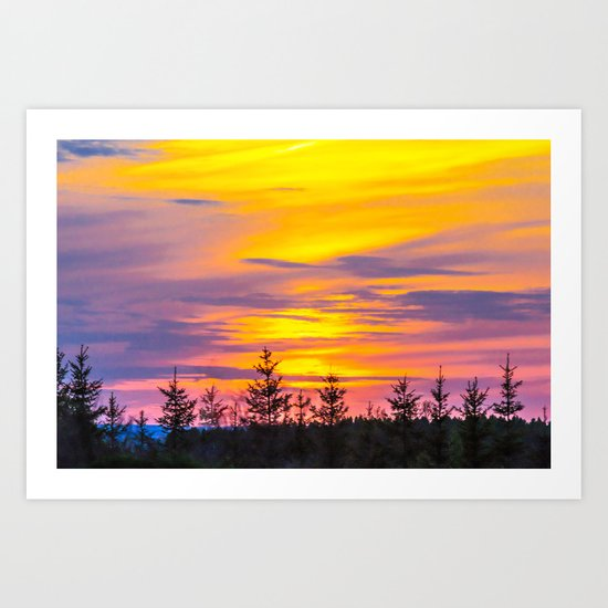 Sunset above the forest Art Print