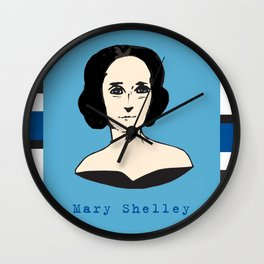 Mary Shelley, hand-drawn portrait Wall Clock