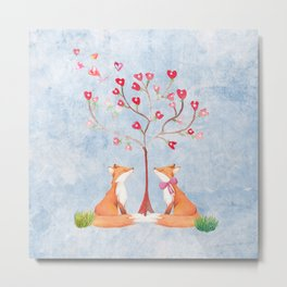 Fox love- foxes animal nature _ Watercolor illustration Metal Print