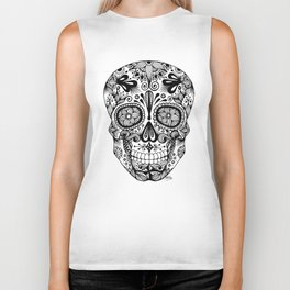 Zentangle - Sugar Skull  Biker Tank