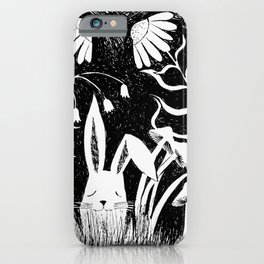 black and white rabbit ink illustration iPhone Case