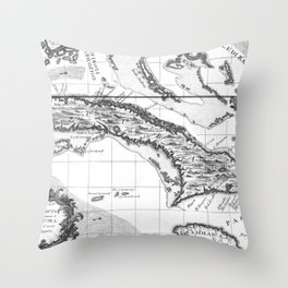 Vintage Map of Cuba and Jamaica (1763) BW Throw Pillow