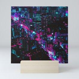 Cyberpunk Vaporwave City Mini Art Print
