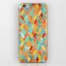 Tangerine & Turquoise Geometric Tile Pattern iPhone Skin