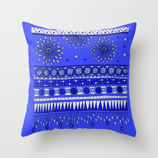 Yzor pattern 007-2 blue Throw Pillow