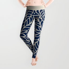 Modern navy blue ivory hand painted floral mandala Leggings