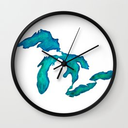 watercolor Great Lakes Wall Clock