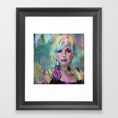 bus stop girl  Framed Art Print