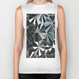 Stylish Art Deco Geometric Pattern - Black, blue, Gold #abstract #pattern Biker Tank