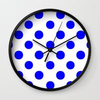 polka Wall Clocks featuring Polka Dots (Blue/White) by 10813 Apparel