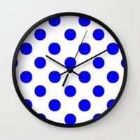 polka dots Wall Clocks featuring Polka Dots (Blue/White) by 10813 Apparel