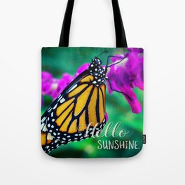 """""""Hello sunshine"""" monarch butterfly close-up photo Tote Bag"""