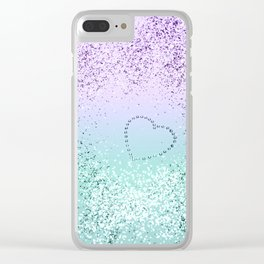 Sparkling MERMAID Girls Glitter Heart #1 #decor #art #society6 Clear iPhone Case