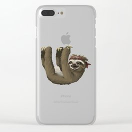 Hanging Sloth Pirate Cartoon Clear iPhone Case
