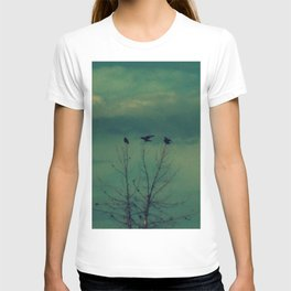 Ravens Come Gathering in a Soft Turquoise Sky T-shirt