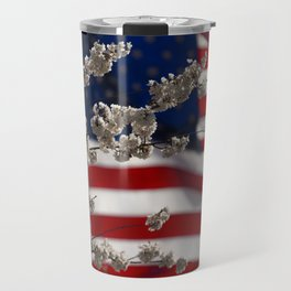 Flowers with American Flag Travel Mug