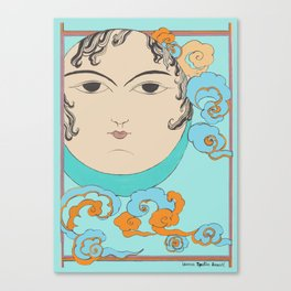 Turquoise Moon face Canvas Print