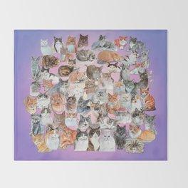 Cat Portrait Collage Throw Blanket
