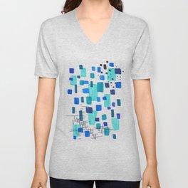 Minimalist Abstract Juvenile Colorful Aqua Blue Shapes Pattern Mid century Modern Unisex V-Neck
