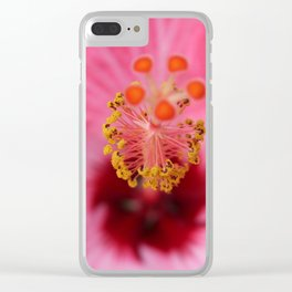Pink Hibiscus Inner Beauty Clear iPhone Case