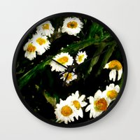 daisies Wall Clocks featuring Daisies by James Peart