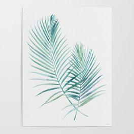 Twin Palm Fronds - Teal Poster