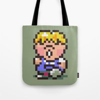 earthbound Tote Bags featuring Pokey Minch - Earthbound/Mother 2 by Studio Momo╰༼ ಠ益ಠ ༽