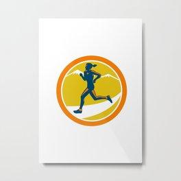 Female Triathlete Runner Running Retro Metal Print