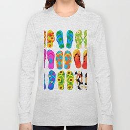 Sandals Colorful Fun Beach Theme Summer Long Sleeve T-shirt