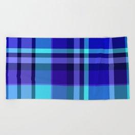 Blue Plaid Pattern Beach Towel