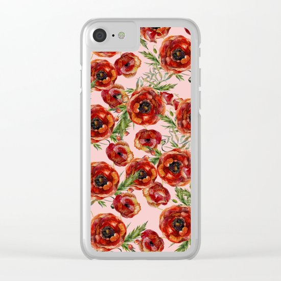 Poppy Pattern On Pink Background Clear iPhone Case