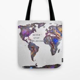 """Star map. Never stop exploring...II"". World map. Tote Bag"