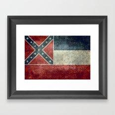 Mississippi State Flag, Distressed version Framed Art Print
