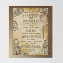 Steampunk Bible Verse For God So Loved the World Throw Blanket