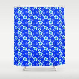 Blue Floral And Turtles Hawaiian Pattern Shower Curtain