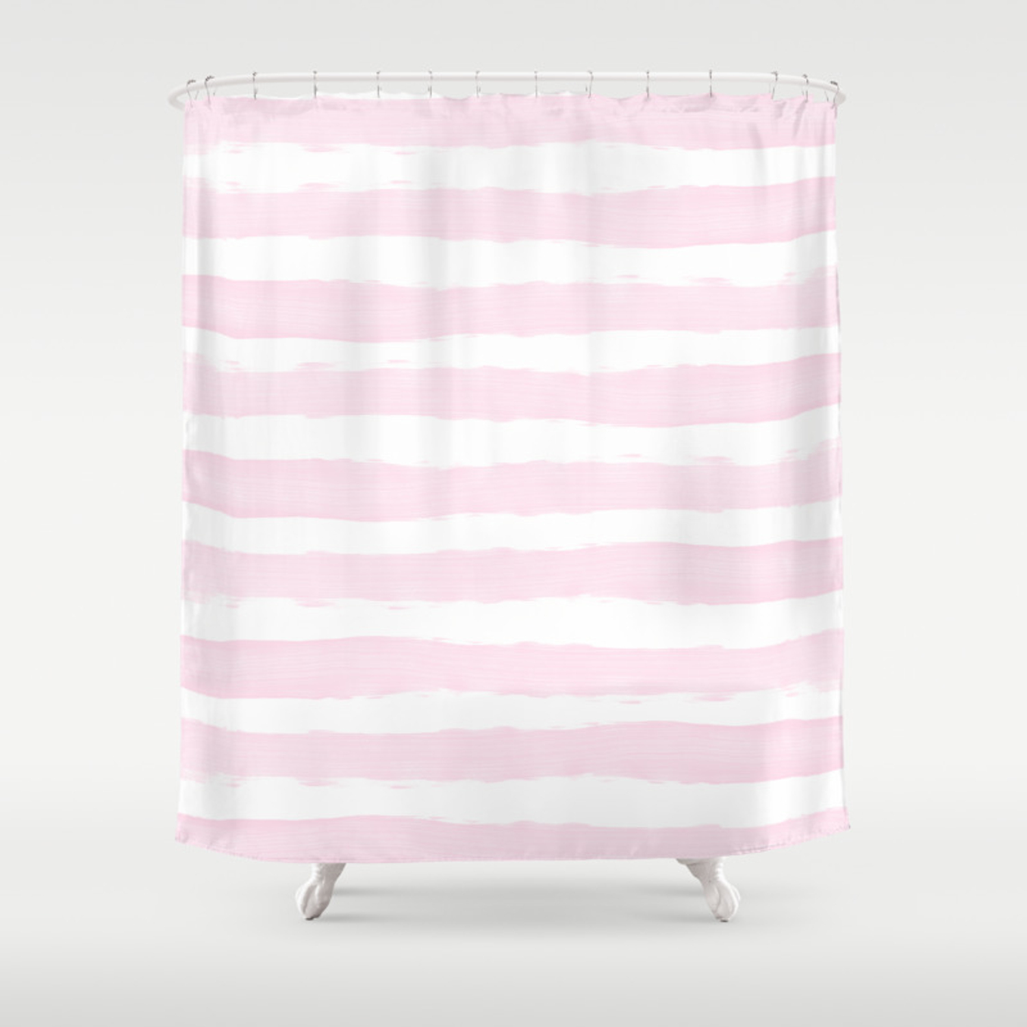 Pink Handpainted Stripes On Clear White Shower Curtain