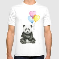 Panda Baby with Heart-Shaped Balloons Whimsical Animals Nursery Decor Mens Fitted Tee White MEDIUM