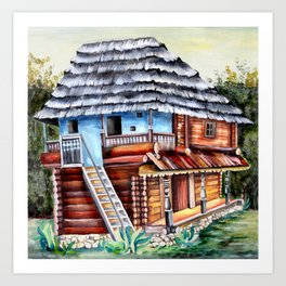Watercolor Romanian Artwork Painting with Transylvanian House Art Print