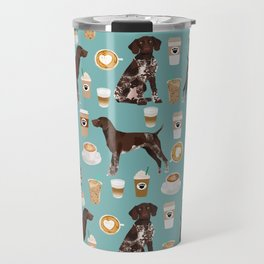 German Shorthaired Pointer Coffee Dogs - dogs and coffee, gsp, cute dog, pet, latte Travel Mug